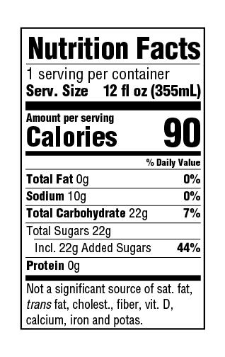 GuS Ginger Nutrition Facts