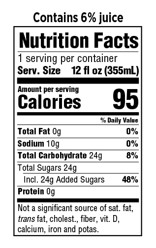 GuS Pomegranate Nutrition Facts