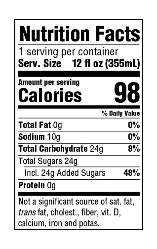 GuS Root Beer Nutrition Facts